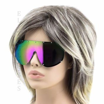 SHIELD Style Large Oversized Women Vintage Retro Metal Frame Mirror Sunglasses
