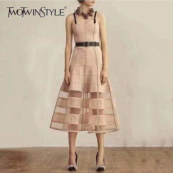 Pink Elegant Leather Strap High Waist Mess Sleeveless Cocktail Formal Midi Dress