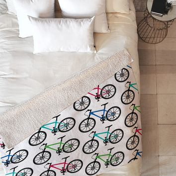 Andi Bird Ride A Bike White Fleece Throw Blanket
