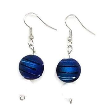 Blue Striped Round with White Faceted Round Beaded Earrings