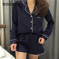 WINTRESS Winter Solid Women Sleep Pajamas Sets Turn-Down Collar Long Sleeve Top And Hot Shorts Casual Style Home Clothes