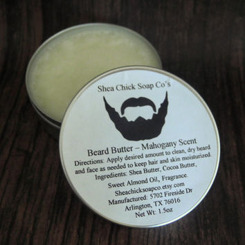 Beard Butter - Mahogany Scent 1.5 oz - Beard Care, Beard Balm, Facial Hair Care, Groomsmen Gift, Beard Grooming, Gifts for Him