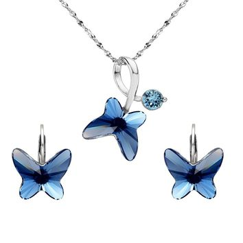 925 Sterling Silver Butterfly Bridal Necklace Leverback Earrings Set Denim Blue Made with Swarovski Crystals