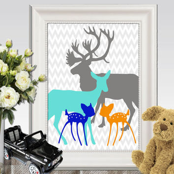 Twin nursery decor Twin nursery wall art Deer family print Baby twins prints ideas Turquoise gray orange blue printable INSTANT DOWNLOAD