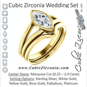 CZ Wedding Set, featuring The Shae engagement ring (Customizable Marquise Cut Split-Band Solitaire)