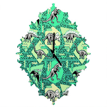 Chobopop Nineties Dinosaur Skeleton Pattern Baroque Clock