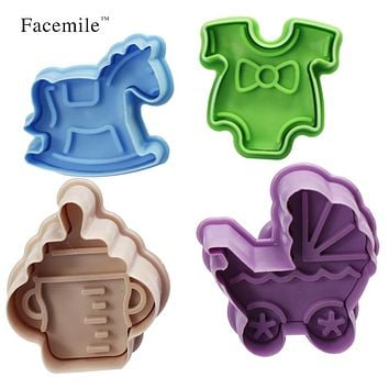 4PCS/ set 3D Plastic Bottle shape and Trojans Cookies Cutter Spring Pressing Mould Cake Decorating Tools 03066