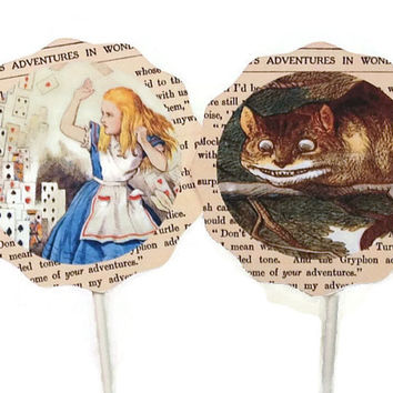 Alice in Wonderland Cupcake Toppers Food Picks, Birthday Party Decorations, Alice Tea Party, Alice in Wonderland Birthday Party,White Rabbit