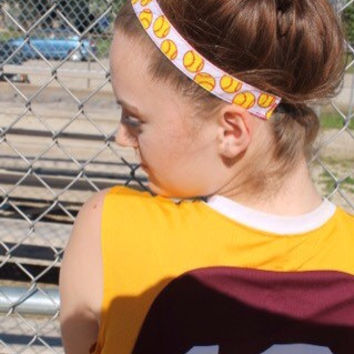 Nonslip Softball Headband – No Slip Stretchy Sports Headband – Ribbon & Elastic Softball Hair Accessory – Athletic Head Band – Softball Gift