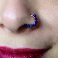 14K Gold wrapped Lapis Lazuli Nose Ring
