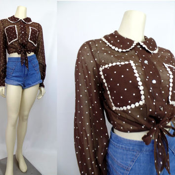 Vintage 1970s tie top halter blouse sheer Brown polka dot Petti cotton Picnic see through hippie boho Groovy