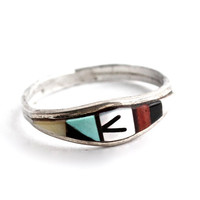 Vintage Sterling Silver Turquoise Ring - Size 8 1/2 Zuni Native American Jewelry /  Natural