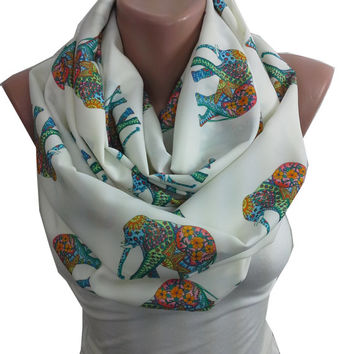 Elephant Print Scarf Infinity Scarf Bohemian Elephant Scarf Animal Print Mom Mothers Day from Daughter Son Husband Christmas Gifts For Her
