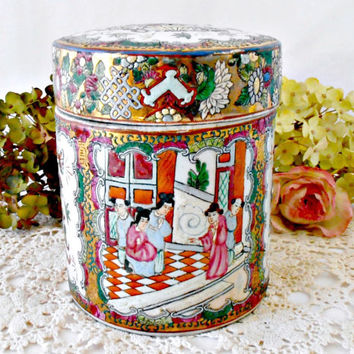 Chinese Famille Rose Porcelain Jar, Tea Canister and Cover, Tobacco Jar, Gold Guild, Enamel Hand Painted Chinese Figures Mother's Day Gift