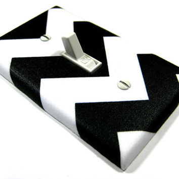Light Switch Cover White and Black Chevron Riley Modern Home Decor Zigzag Zig Zag Switchplate Switch Plate