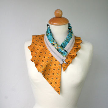 Silk collar necklace, bright orange, black, teal, cream beige, women's collar necklace, eco fashion (72)