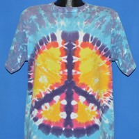 90s Sundog Peace Sign Tie Dye All Over Print t-shirt Large