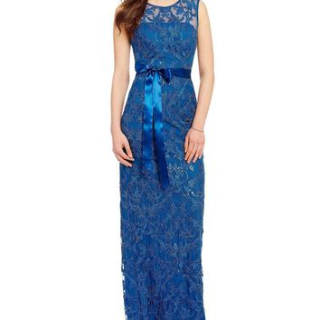 Adrianna Papell - AP1E200781 Cap Sleeve Embroidered Gown