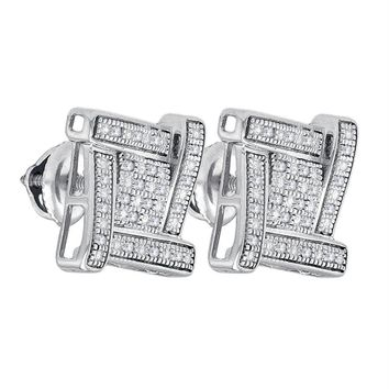 Sterling Silver Mens Round Diamond Square Cluster Stud Earrings 1-8 Cttw - FREE Shipping (US/CAN)