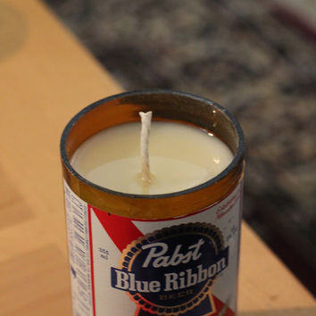 Pabst Blue Ribbon beer bottle candle - Pine cone scented