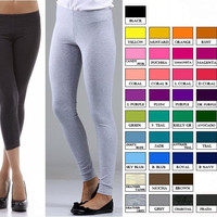S M L XL - XXXL STRETCH COTTON SLIM FIT YOGA LEGGINGS capri or long