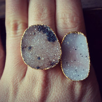 LUX Divine Druzy Stackable Gemstone Gold Ring Size 7.5