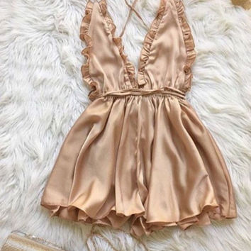 Sexy Deep V-Neck Strap Backless Romper Jumpsuit  Bodysuit