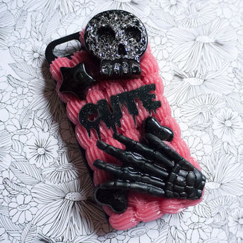Spooky Cute Decoden Phone Case for iPhone 5 or 5s - Black and Red Whipped Cream Case