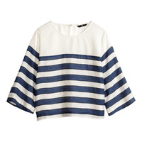 H&M - Short Blouse - Dark blue/white - Ladies
