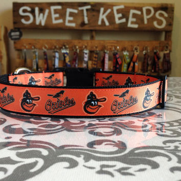Dog Collar Made from Baltimore Orioles Inspired Ribbon