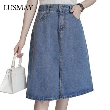 5XL Plus Size Denim Skirts Womens 2017 Fashion High Waist Jeans Skirt Women Clothing Preppy Casual A Line Skirt Knee Length