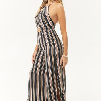 Striped Cutout Halter Palazzo Jumpsuit