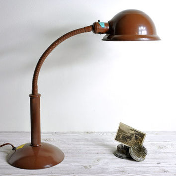 Vintage Industrial Gooseneck Desk Lamp / Brown by havenvintage