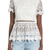 J.O.A. Floral Lace Crop Top | Nordstrom