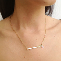 14k gold filled plate bar and star of david pendant necklace