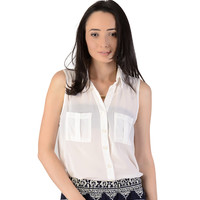Button Up Sheer Blouse - Clothing