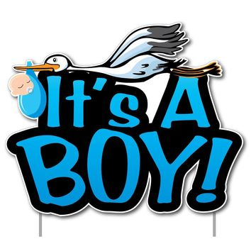 "It's a Boy! Yard Card Baby Announcement Set "" 17 pcs total - Free"