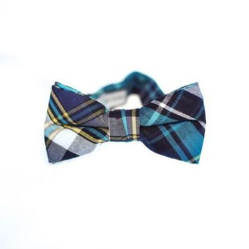 Urban Sunday Infant Plaid Bowtie in Blue/Teal