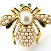 Joan Rivers Bee Brooch Pin with Pearls