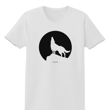 Wolf Howling at the Moon - Design #1 Womens T-Shirt by TooLoud