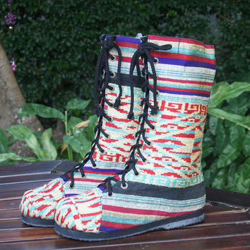 Britta Womens Combat Boot in Colorful Laos Embroidery
