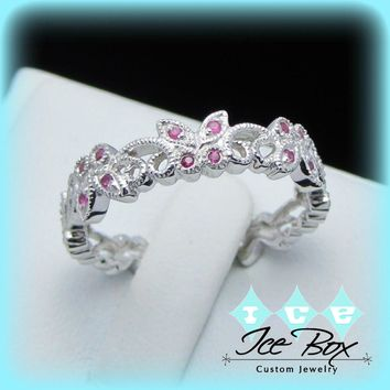Vintage Floral Butterfly Milgrain 10k White Gold Ruby Wedding Band, Anniversary Band, Eternity Band