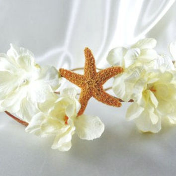 Flower Bridal Crown Head Wreath Starfish by ShepherdoftheSea