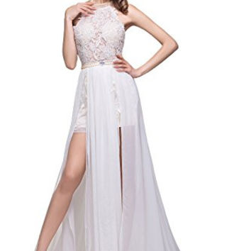 Babyonline Chiffon evening Dresses Halter Beaded Crystals Lace Bodice Long Gown