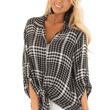 Black and Ivory Plaid 3/4 Length Sleeve Button Up Top