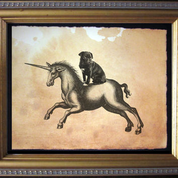 Black Pug Riding Unicorn- Vintage Collage Art Print on Tea Stained Paper - Vintage Art Print - Vintage Paper