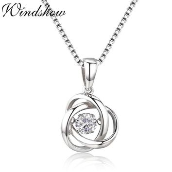 Cute 925 Sterling Silver Sparkling Dance Endless Circle Mobius CZ Charms Pendant Necklace Women Girls Friend Jewelry Bijoux Gift