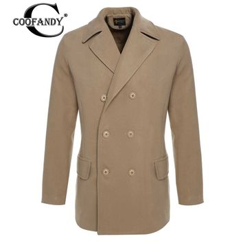 COOFANDY 2017 Newest Male Clothes  Men Winter Fashion Notched Collar Long Sleeve Double-breasted Slim Classic Pea Coat