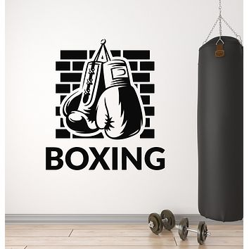 Vinyl Wall Decal Boxing Gloves Gym Sports Fighting Martial Arts Stickers Mural (g1324)