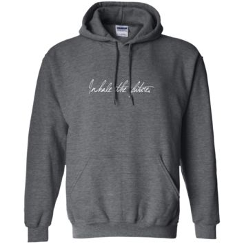 """""""Inhale Exhale"""" Front/Back Printed Unisex Pullover Hoodie"""